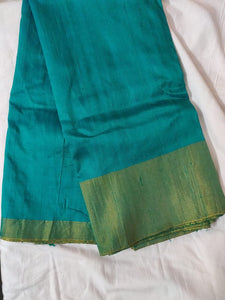 Turquoise Green Raw Silk Fabric Pre Cut 5.5 Meters FAB212
