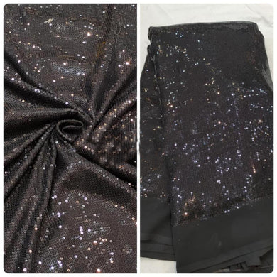 Black Heavy Sequin Embroidery Georgette Fabric FAB259