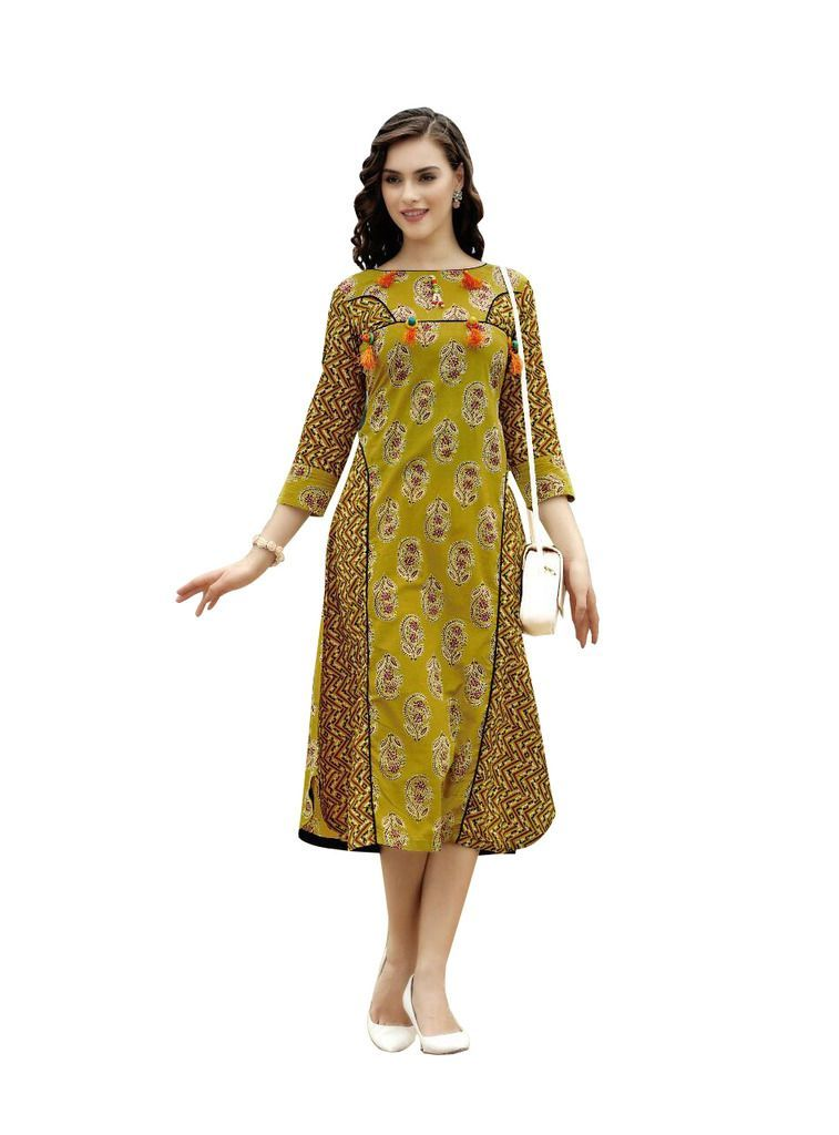 Designer Olive Green Cotton Printed Long Kurti Kurta Dress Style Size 42 XL SC1001 - Ethnic's By Anvi Creations