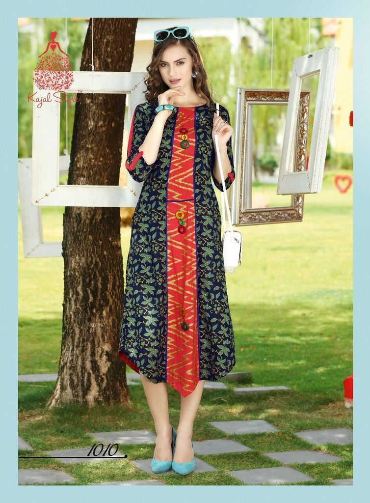 Designer Blue Cotton Printed Long Kurti Kurta Dress Style Size 42 XL SC1010 - Ethnic's By Anvi Creations