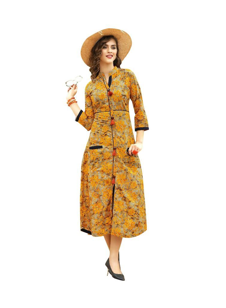 Designer Yellow Cotton Printed Long Kurti Kurta Dress Style Size 42 XL SC1012 - Ethnic's By Anvi Creations