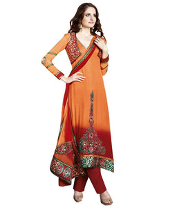 Orange Maroon Embroidered Anarkali Churidar Dress Material SCA7192A - Ethnic's By Anvi Creations