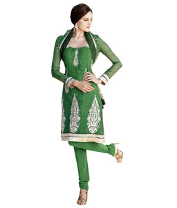 Green Embroidered Anarkali Churidar Dress Material SCA7198A - Ethnic's By Anvi Creations