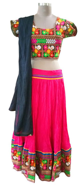 Garba Cotton Chaniya Choli 3 Piece Lehenga Kutchi Work GB07