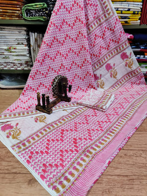 Exclusive Pink Hand Block Printed Mulmul Cotton saree GOV17