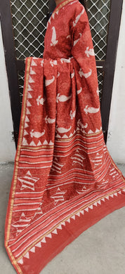 Designer Rust Chanderi Silk Block Printed Saree GOVCH05