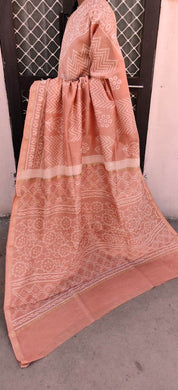 Designer Peach Chanderi Silk Block Printed Saree GOVCH07