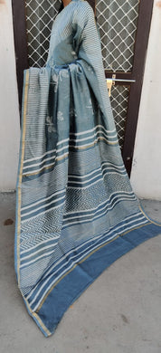 Designer Grey Chanderi Silk Block Printed Saree GOVCH08