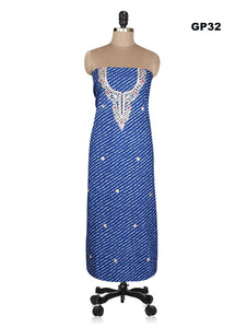 Jaipuri Lehariya Cotton Gotta Patti work Blue Kurti Kurta Fabric GP32