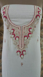 Jaipuri Kundan Hand Work Off White Georgette Kurti Kurta Fabric GP45