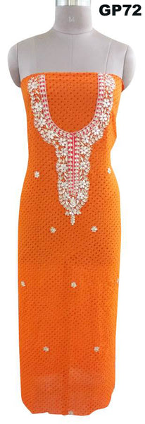 Jaipuri Mothra Georgette Gotta Patti work Orange Kurti Kurta Fabric GP72