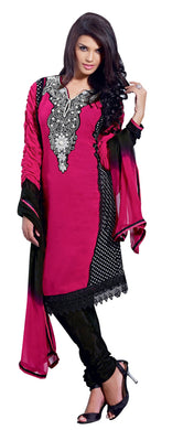 Georgette Pink Black Salwar Suit Dress Material SC361