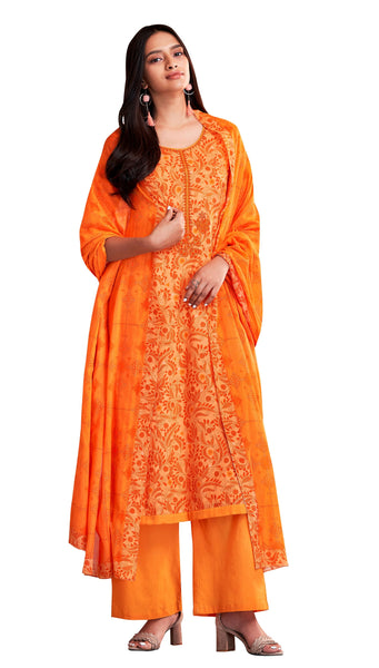 Designer Orange Lawn cotton Dress Material with cotton Dupatta SC7509