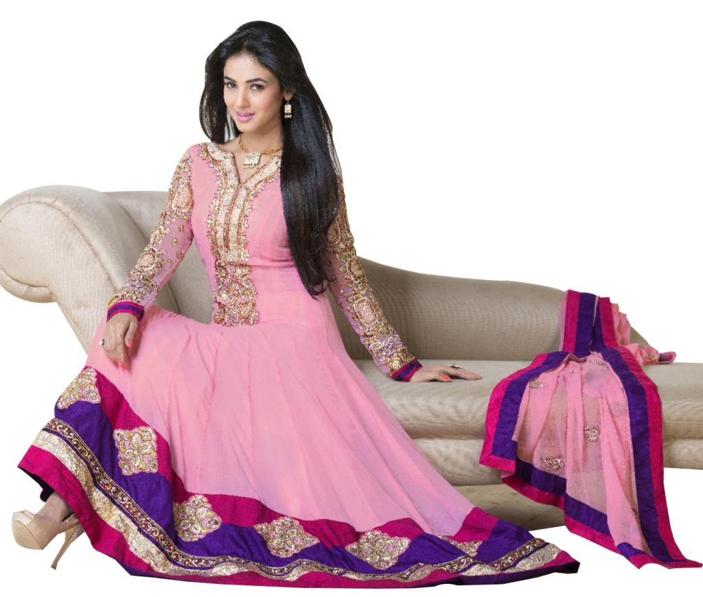 Light Pink Georgette Long Anarkali Dress Material SC5002 - Ethnic's By Anvi Creations