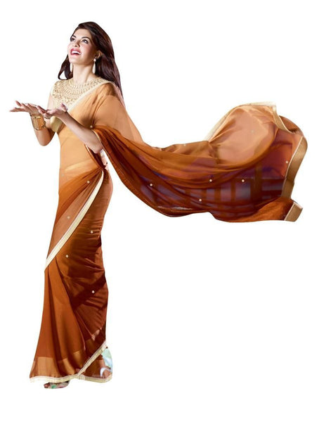 Brown Chiffon Lacer Saree SC10314