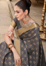 Load image into Gallery viewer, Designer Gray Dupion Silk Weaven Saree GEM4023 - Ethnic's By Anvi Creations