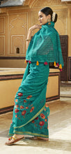 Load image into Gallery viewer, Designer Green Cotton Printed Saree GB484