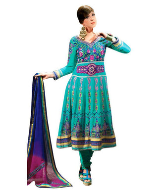 Turquoise Anrakali Dress Material SCA3431 - Ethnic's By Anvi Creations