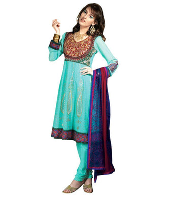 Turquoise Anrakali Dress Material SCA3442 - Ethnic's By Anvi Creations