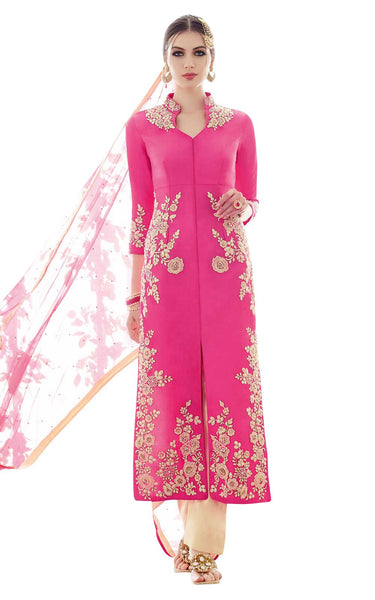 Heer Pink Light Embroidered Semi Stitched Georgette Dress Material 5301