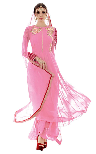 Heer Baby Pink Light Embroidered Semi Stitched Georgette Suit 5307