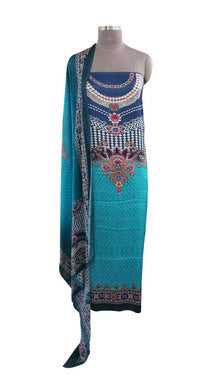 Digital Printed Blue Satin Kurta with Chiffon Dupatta Fabric Only Heer5703