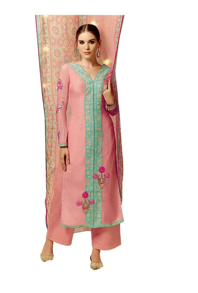 Heer Peach Satin Cotton Embroidered Dress Material SC5802