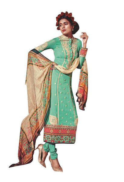 Heer Turquoise Pure Georgette Embroidered Dress Material SC5906