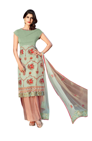 Heer Olive and Onion Pink Pure Cotton Embroidered Dress Material SC6215