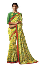 Load image into Gallery viewer, Green Yellow Printed Cotton Silk saree HW808