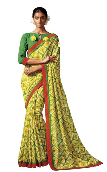 Green Yellow Printed Cotton Silk saree HW808