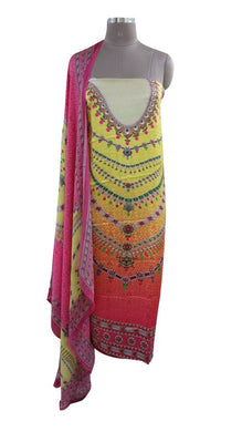 Digital Printed Yellow Pink Satin Kurta with Chiffon Dupatta Fabric Only Heer5705