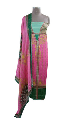 Digital Printed Pink Satin Kurta with Chiffon Dupatta Fabric Only Heer5710
