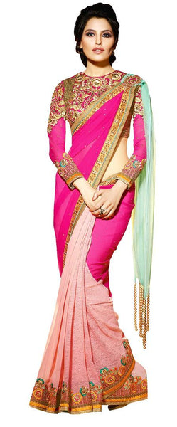 Designer Heavy Wedding Pink Saree with Indo Western Fusion Palla SC7606
