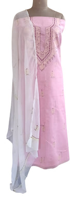Designer Pink Cotton Chikankari Lakhnavi Embroidered Dress Material CHKS06
