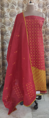 Designer South Cotton Red Heavy Chikankari Lakhnavi Embroidered Dress Material