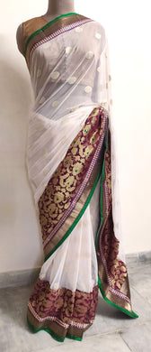 Designer Off White and Maroon Embroidered chiffon saree SC30007C