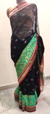 Designer Bollywood Indian Black Embroidered Net saree SC30007A