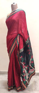 Designer Maroon and Black Embroidered Banarasi Jacquard saree SC30020A