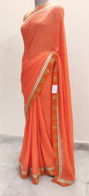 Designer Orange Benaras Border Saree SP05