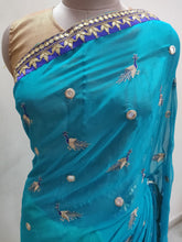 Load image into Gallery viewer, Designer Turquoise Peacock Motif Georgette Saree SP14
