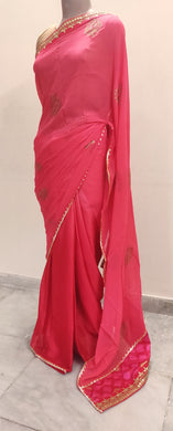 Designer Carrot Pink Pure Georgette Gotta Patti Border Saree SP13