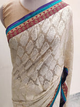 Load image into Gallery viewer, Beige Embroidered Brasso Georgette Saree SC1457