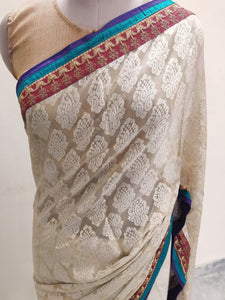 Beige Embroidered Brasso Georgette Saree SC1457