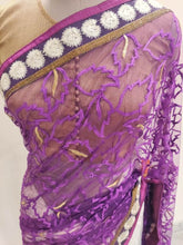 Load image into Gallery viewer, Purple off white Embroidered Brasso & Net Saree SC1460