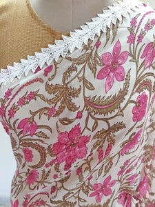 Lacer Printed White Pink Georgette Saree SC897