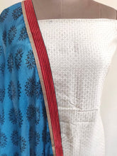 Load image into Gallery viewer, Designer Brasso Printed off white blue salwar kameez Material SC6383A