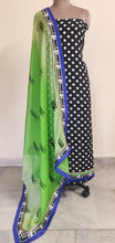 Load image into Gallery viewer, Designer Bhagalpuri printed Black Green Salwar kameez Material SC6388A