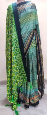 Digital Printed Green Silk Saree with Shawl AAS48