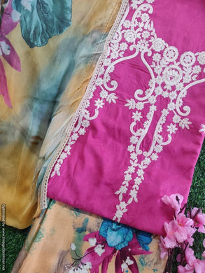 Designer Pink Embroidered Pashmina Winter Dress Material with Chiffon Dupatta VN26